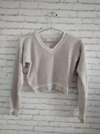 sweter XS S vintage sweterek crop top bluza beżowy kremowy
