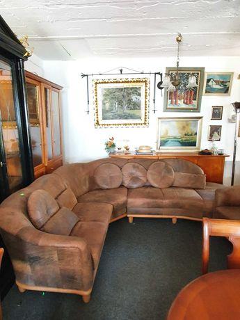 Sofa narożnik skóra brązową z fotelami