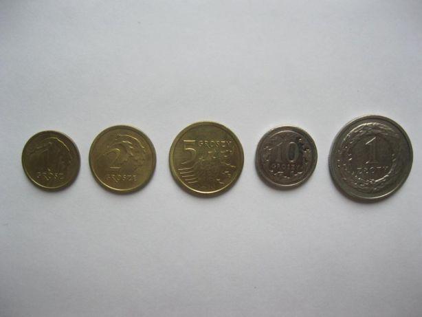 Польша - набор монет 1, 2, 5, 10 грошей, 1 злотый 2014-2017