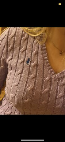 Liliowy fioletowy sweter Polo Ralph Lauren S