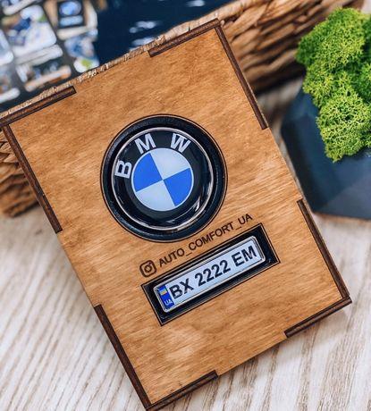 Кожаная обложка для автодокументов с логотипом авто и госсномером