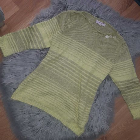 zielony sweterek z rękawem 3/4 w paski sweter włochaty S/M