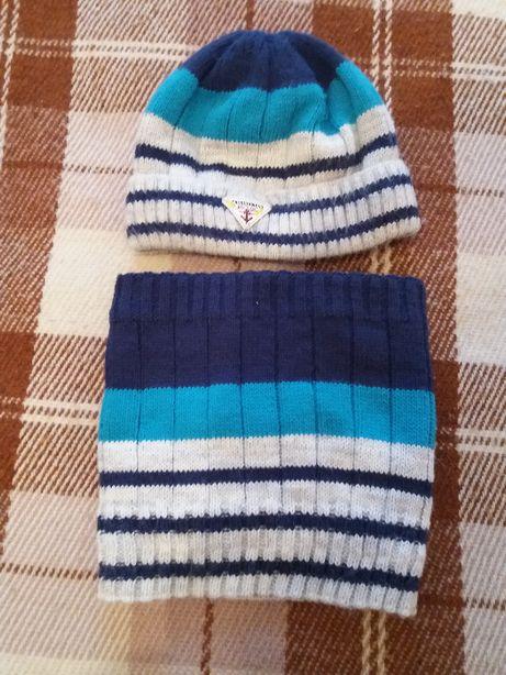 Зимняя шапка и хомут на мальчика 5-6 лет