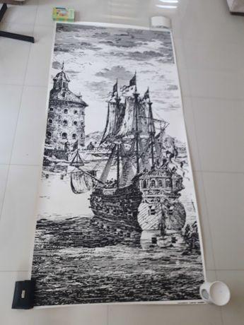 Stary plakat Zaglowca. Technika linoryt,miedzioryt 200/94cm.