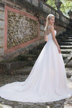 Suknia ślubna sincerity 3891 Pink boho koronka