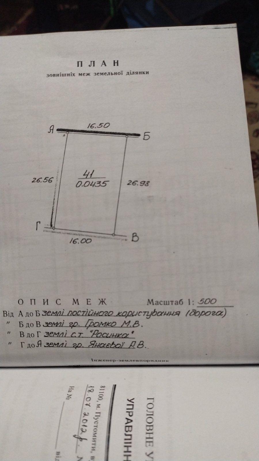 Продам земельну ділянку в смт Рудно 4.35 сотих