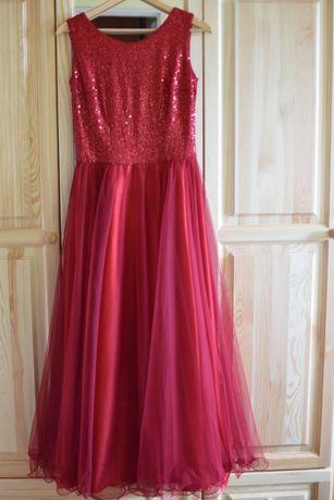 czerwona suknia wieczorowa rozm. 40 maxi