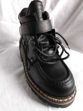 Skórzane buty typu traper w super cenie ! Obniżka ceny !;
