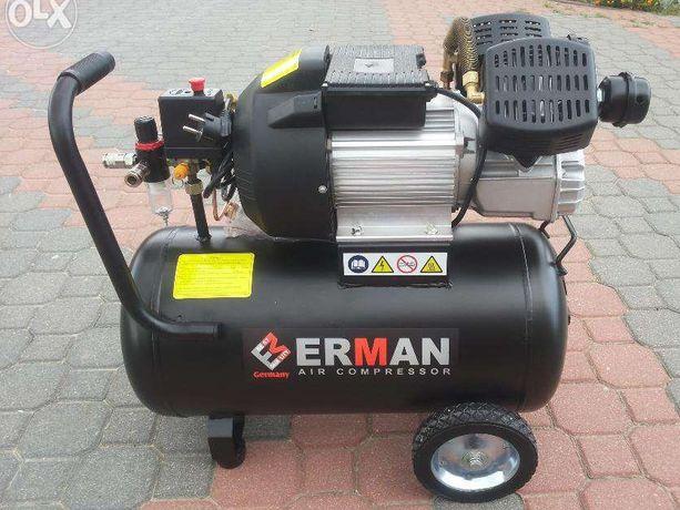 Sprężarka 50L Kompresor 50L 2 tłoki ( dwucylindrowy ) ERMAN