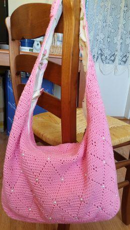 Torebka szydełkowa Hand Made różowa rękodzieło