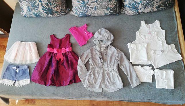 Paka ubrań dla dziewczynki 110-116 m.in. kurtka sukienka spódniczka