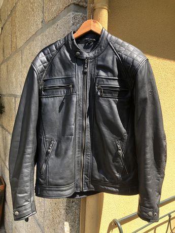 Blusão motard em pele preto