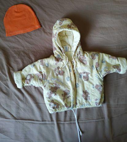 Курточка демисезонная лёгкая и шапочка на ребенка до 1 года
