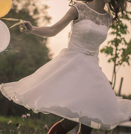 Suknia ślubna za kolana rozmiar xs