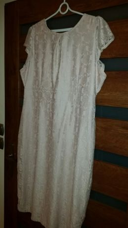 Sukienka z koronka bezowa