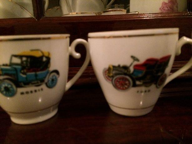 6 Chávenas de café antiga com motivo de carros antigos