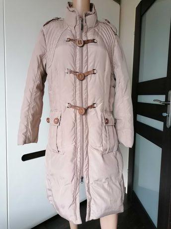 Monnari ciepły puchowy płaszcz na zimę pierze Puch. Beż. XXL/44.