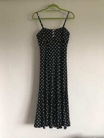 Sukienka na ramiączkach czarna w białe kropli midi Joseph Ribkoff s/m
