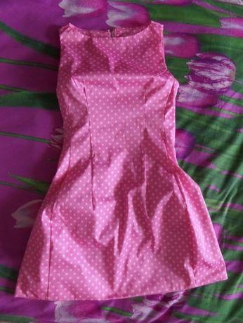 Выпускное, вечернее, модельное платье розовое в горошек супермодное