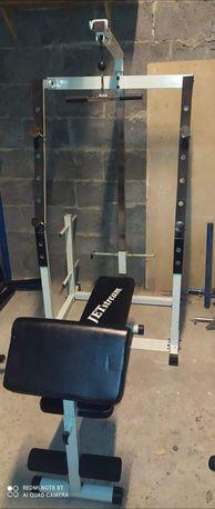 Zestaw do ćwiczeń, ławeczka, stojak, wyciąg, siłownia!