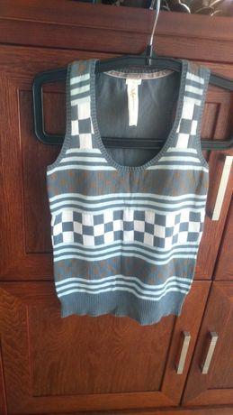 Kamizelka sweterek szara +wzór,bezrękawnik ,bluzka na ramiączka S-M