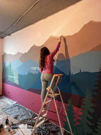 Художественная роспись стен, дизайн интерьера, картины на заказ