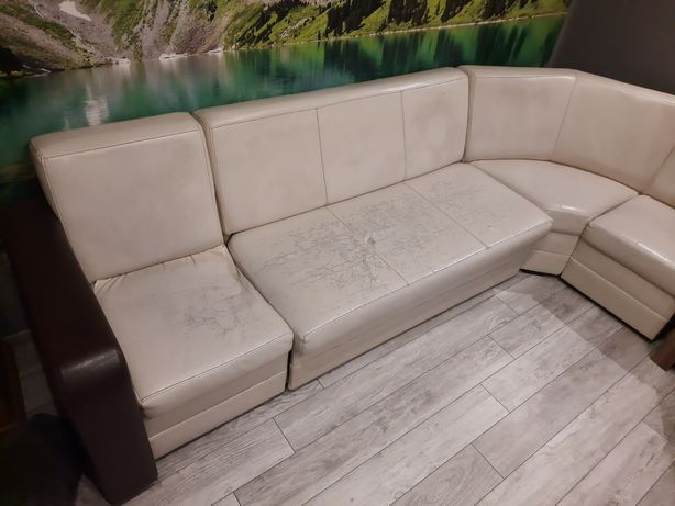 Narożnik skóra boki rozkładana sofa Transport!