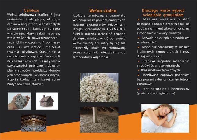 Docieplenia celuloza. Wdmuchiwanie granulatu wełny