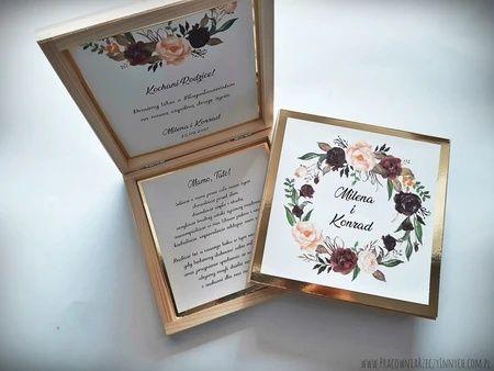 Drewniane pudełko na zaproszenie, drewniane zaproszenie