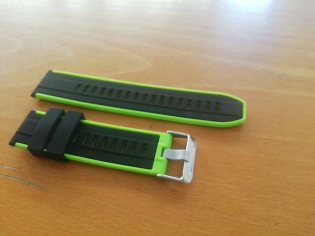 Bracelete/Correia em silicone 22mm (Nova) Preta e verde