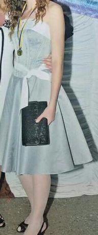 Вечернее/выпускное платье из атласа (корсет, юбка)