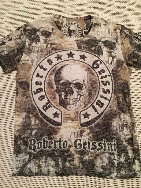 Мужская футболка Roberto geissini,рок,байкерская,эксклюзивный принт.
