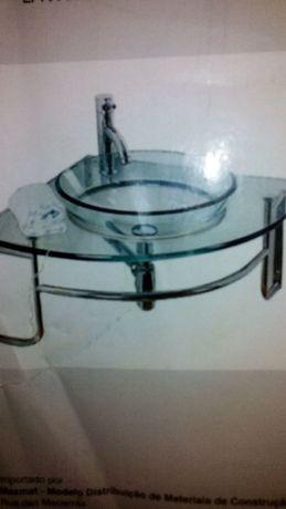 Lavatório de CANTO novo em vidro e suporte em inox