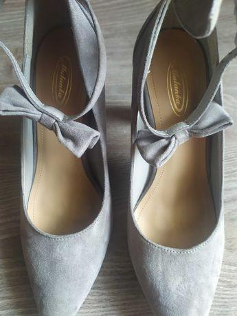 Szare buty na słupku szpilki króliczki 39