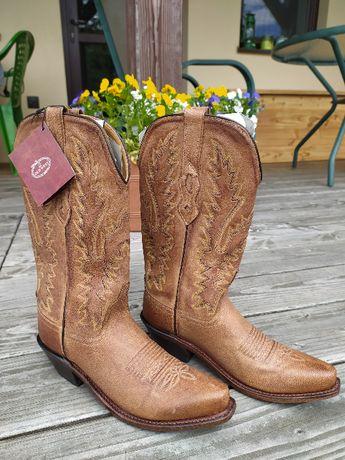 Buty damskie kowbojki skórzane nowe z USA rozm. 35-36
