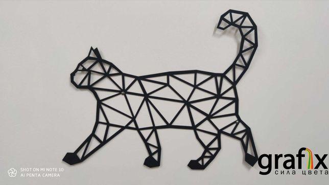 Декор на стену. Металлический Кот. Настенный декор панно. Лофт