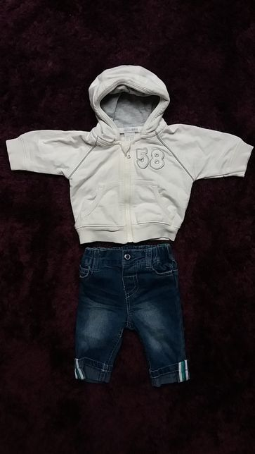 Komplet - jeansy/spodnie + bluza dres roz. 50/56