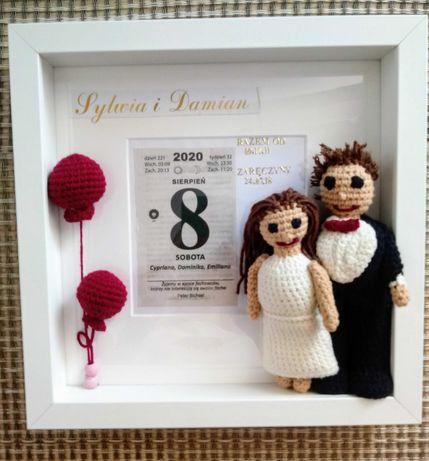 Metryczka 3D na szydełku, urodziny, ślub, chrzest i innne