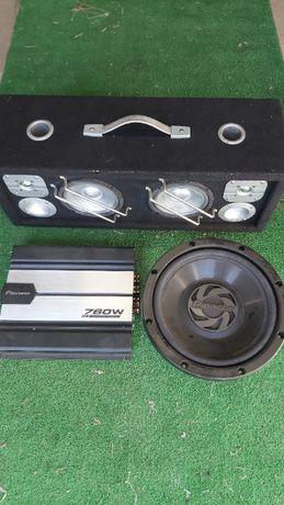 sub ts-w 305f 800w amplificador pioneer gm 5100t 760w