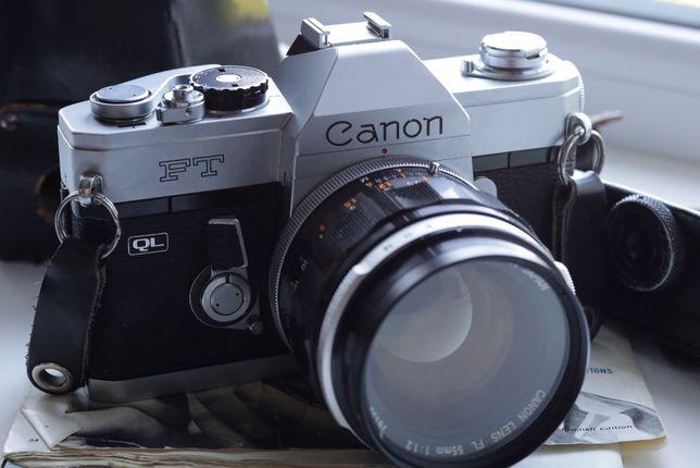 Пленочный Canon FT QL + FL 55mm f/1.2 + 200mm f/3.5 + 2 кофра и бонусы