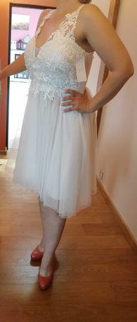 Nowa! biała sukienka tiul koronka