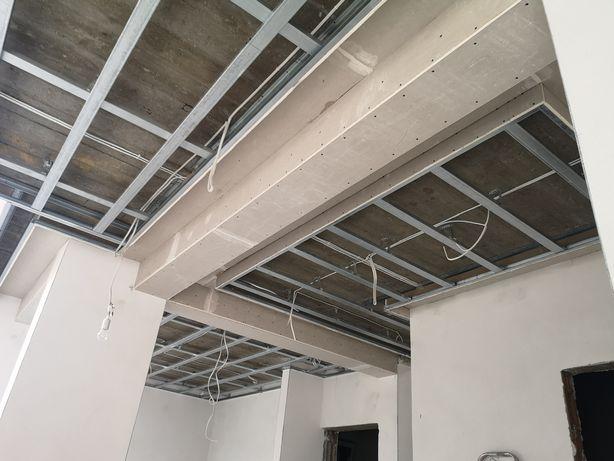 Zabudowy gk, sufity, ścianki działowe, gładzie gipsowe, malowanie