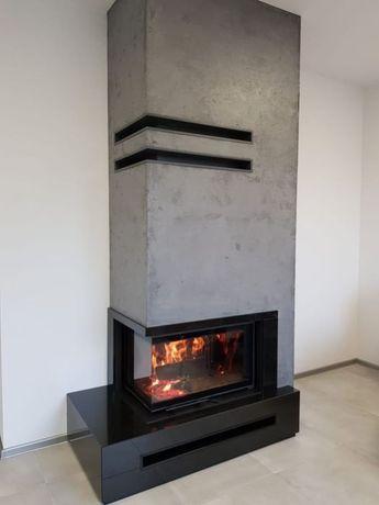 Kompletny nowoczesny kominek z bocznym przeszkleniem Śląsk kompleksowo