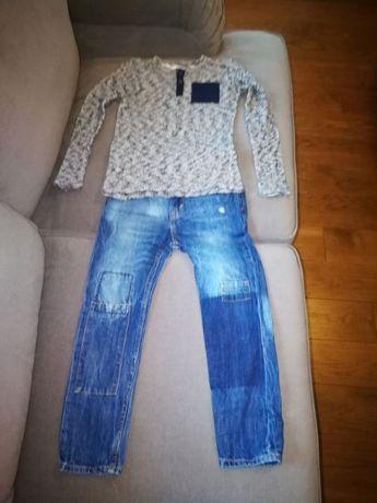 spodnie jeansowe H&M, bluzka Zara rozmiar 122
