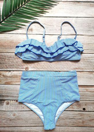 Nowy kostium kąpielowy bikini retro M falbanki wysoki stan paski
