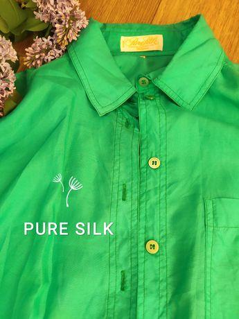 Крутейшая шелковая рубашка цвета свежескошенной зелени