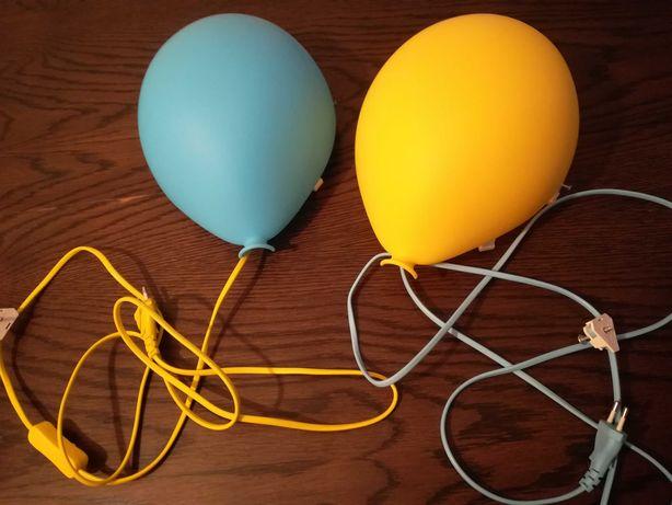 IKEA lampa balonik, 2 szt. żółta i niebieska - jak nowa