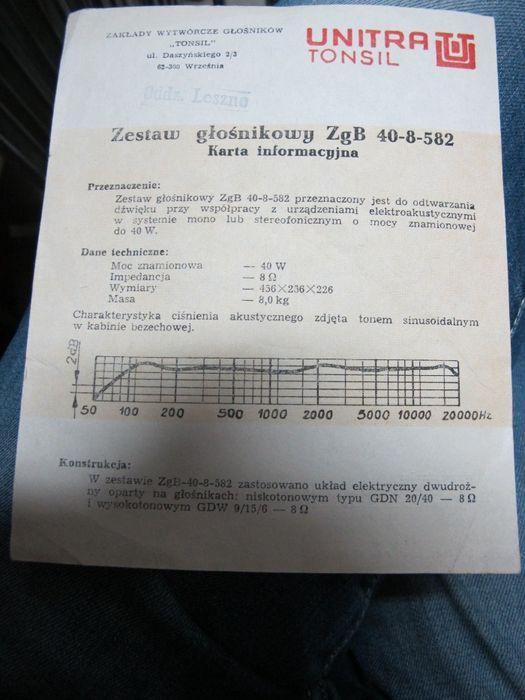 Karta InformacyjnaZestaw Głośnikowy ZgB 40-8-582 Tomsil Warszawa - image 1