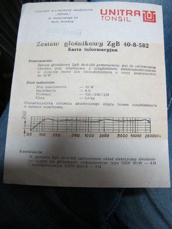 Karta InformacyjnaZestaw Głośnikowy ZgB 40-8-582 Tomsil