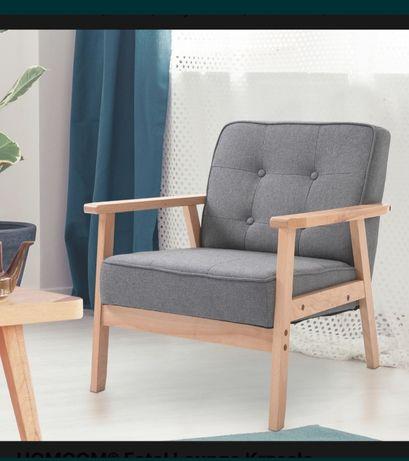 Fotel len, drewno